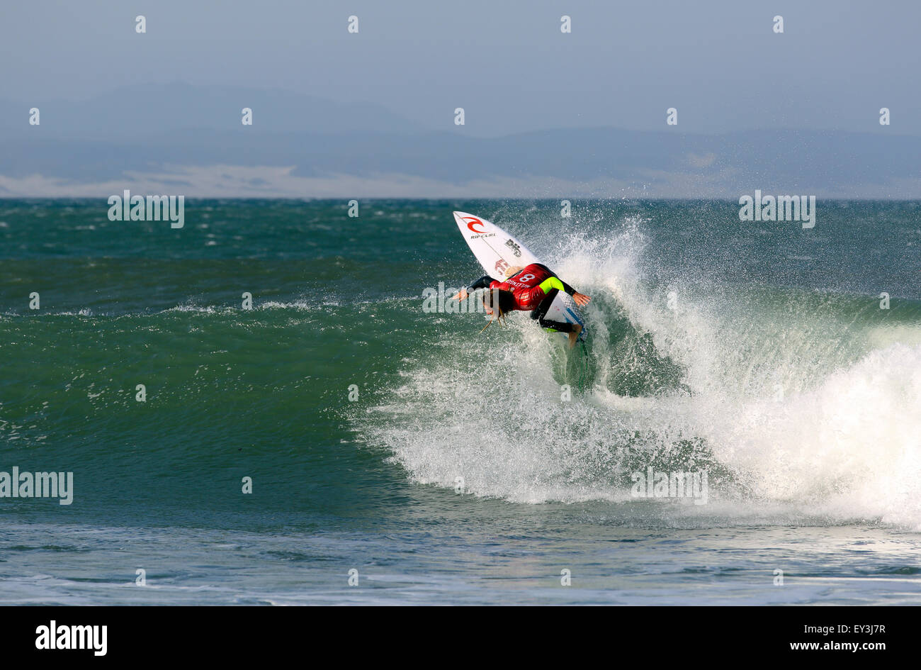 Australian professional surfer Matt Wilkinson in action at the 2015 J-Bay Open surfing event in Jeffreys Bay, South - Stock Image
