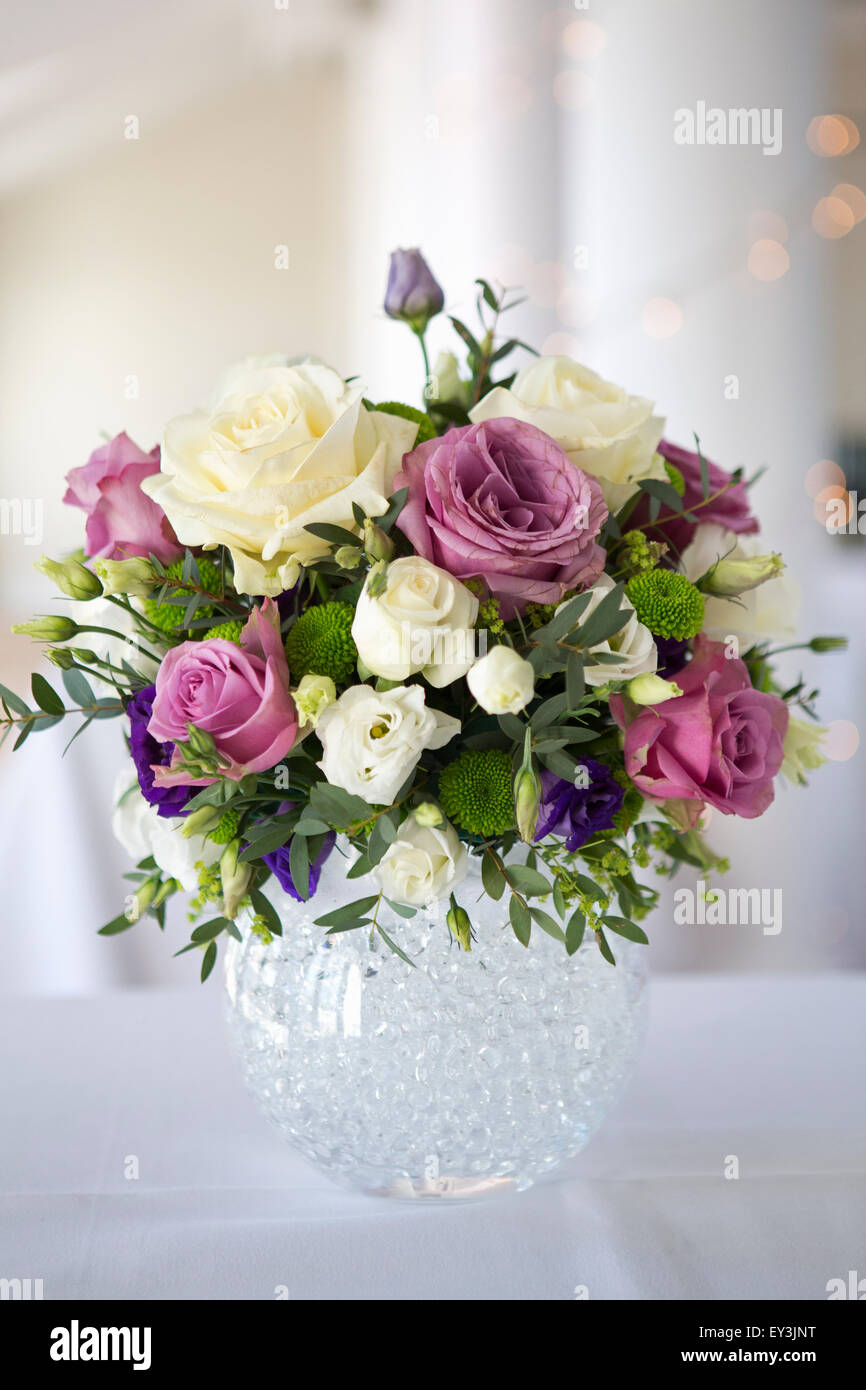 Arrangement Of White Pink And Purple Wedding Flowers Stock Photo Alamy