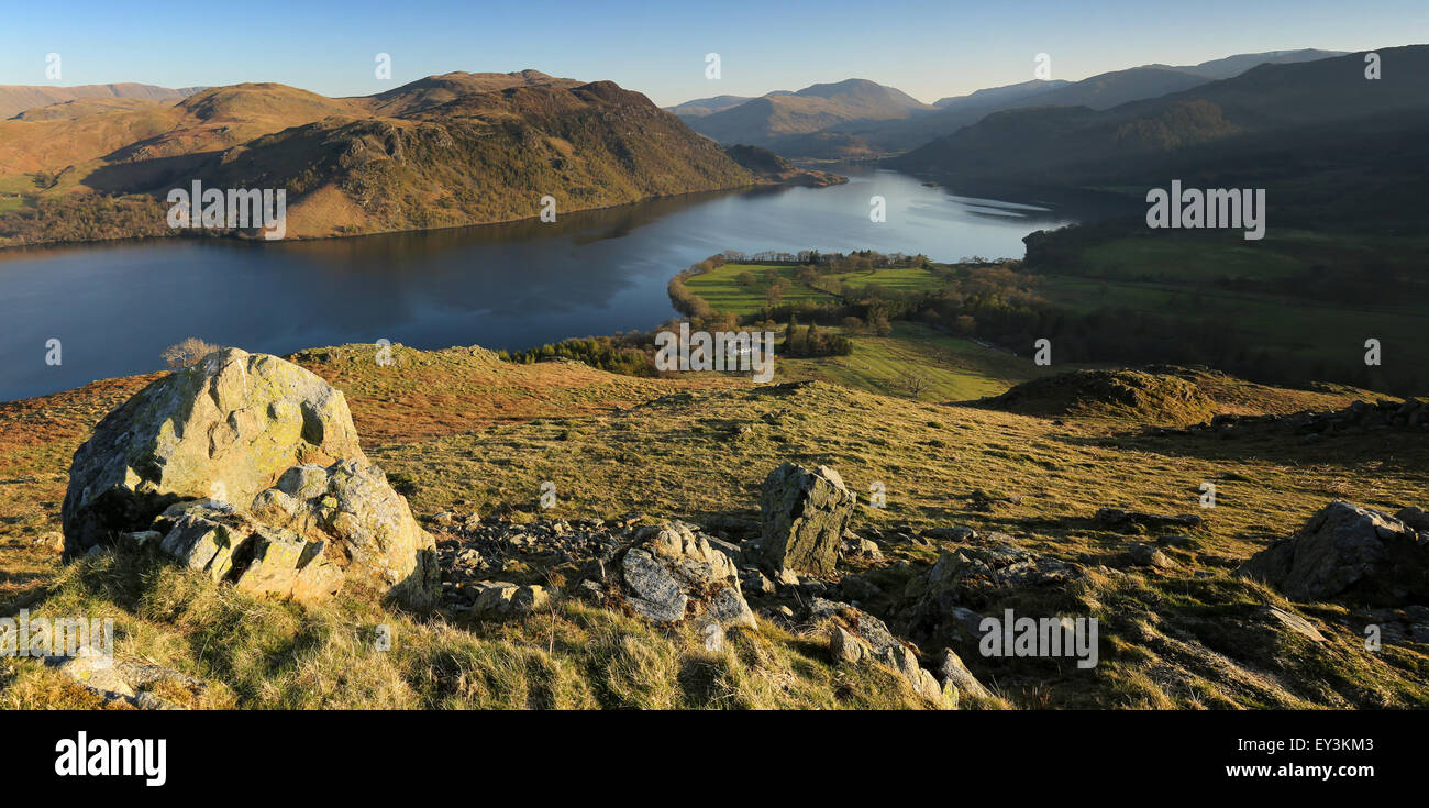 Evening light on Gowbarrow fell. Ullswater and Place Fell from Gowbarrow, spring evening Stock Photo
