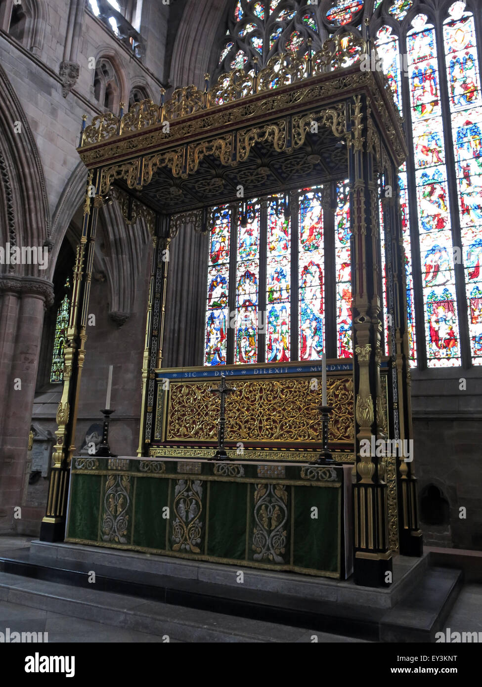 Wooden Altar Carlisle Cathedral, Cumbria,England,UK Stock Photo