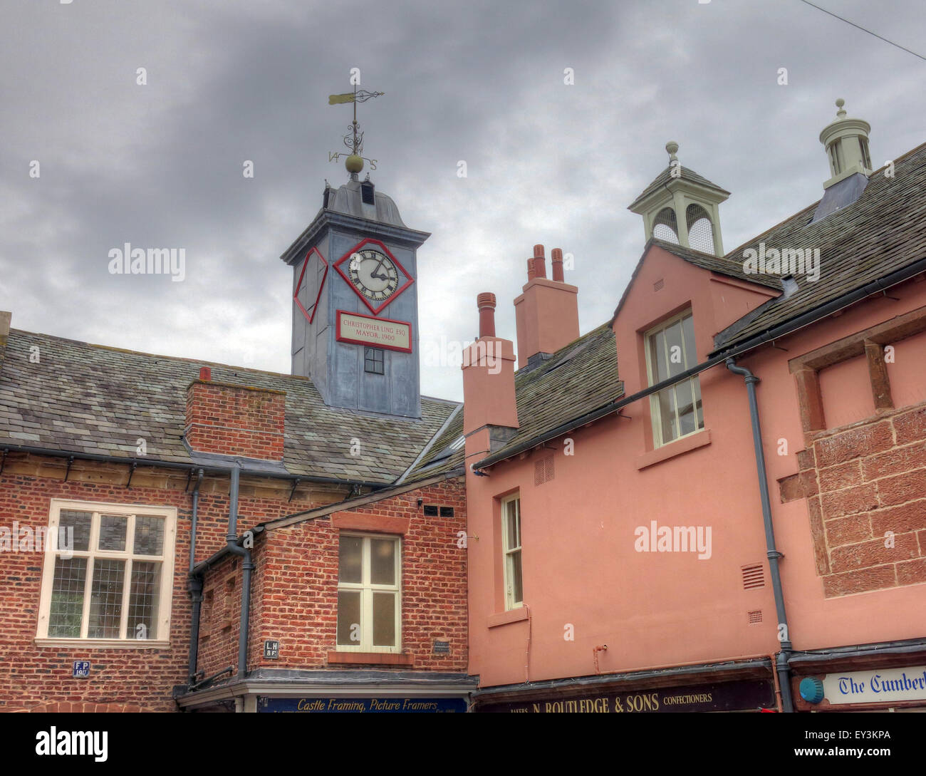 Carlisle Old Town Hall Clock,City Centre,Cumbria,England,UK - Stock Image
