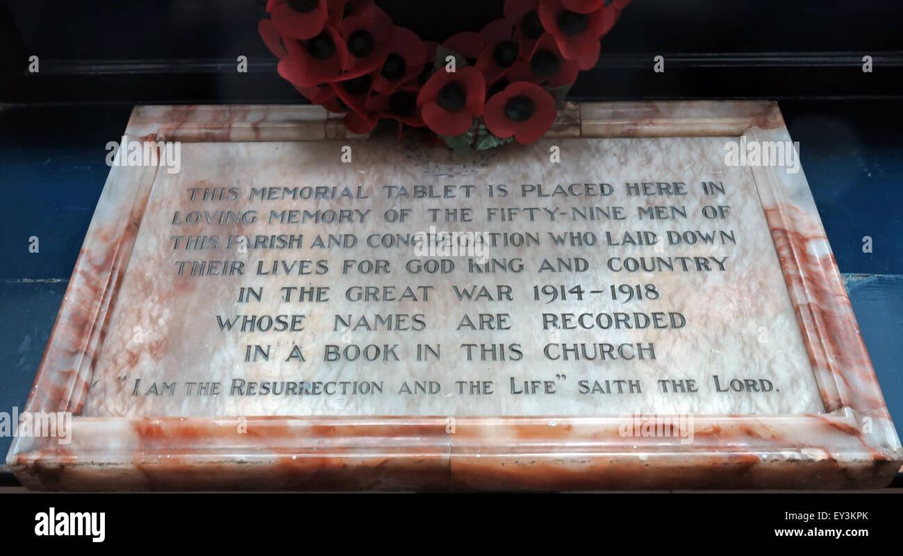 St Cuthberts Church,Carlisle,Cumbria,England,UK interior- Memorial Tablet,1914,1918 - Stock Image