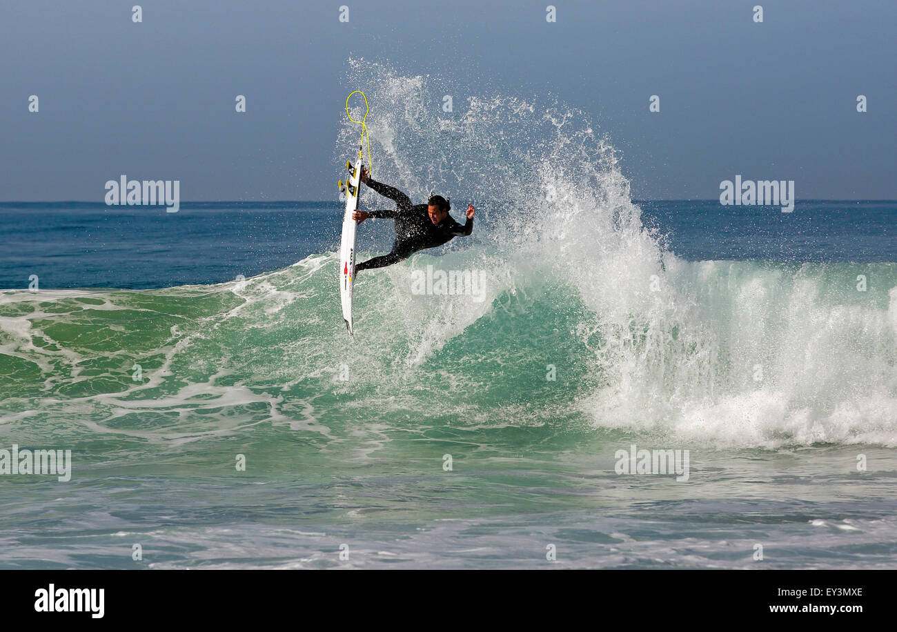 South African professional surfer Jordy Smith surfing at Jeffreys Bay in South Africa - Stock Image