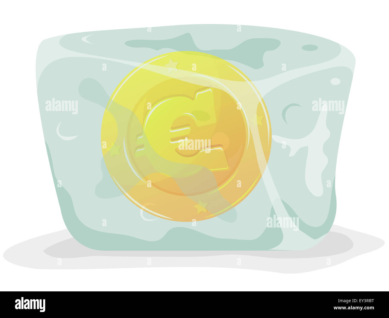 Illustration Of A Gold Euro Currency Coin Frozen Inside Cartoon