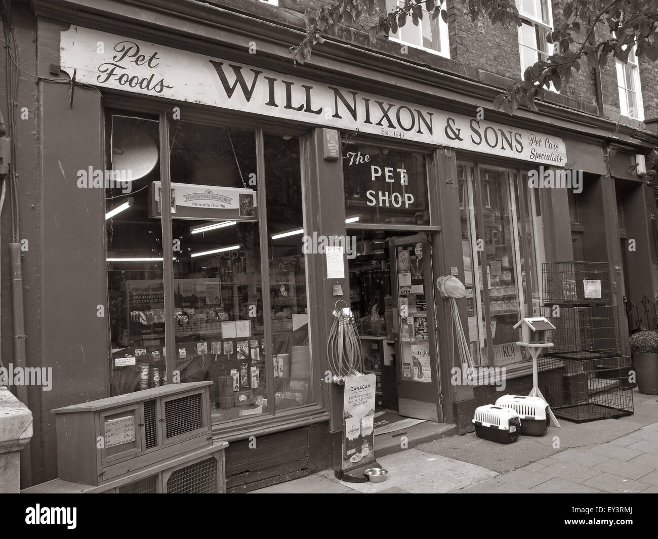 Will Nixon and sons,traditional Carlisle pet shop,Cumbria,England,UK in monochrome - Stock Image