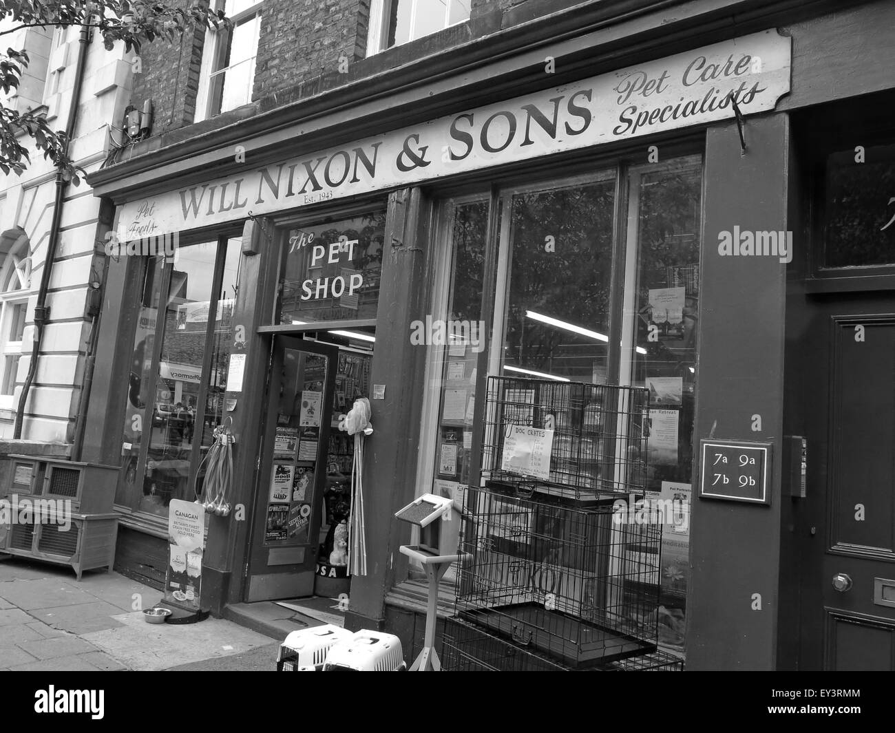 Will Nixon and sons,traditional Carlisle pet shop,Cumbria,England,UK,Black/White - Stock Image