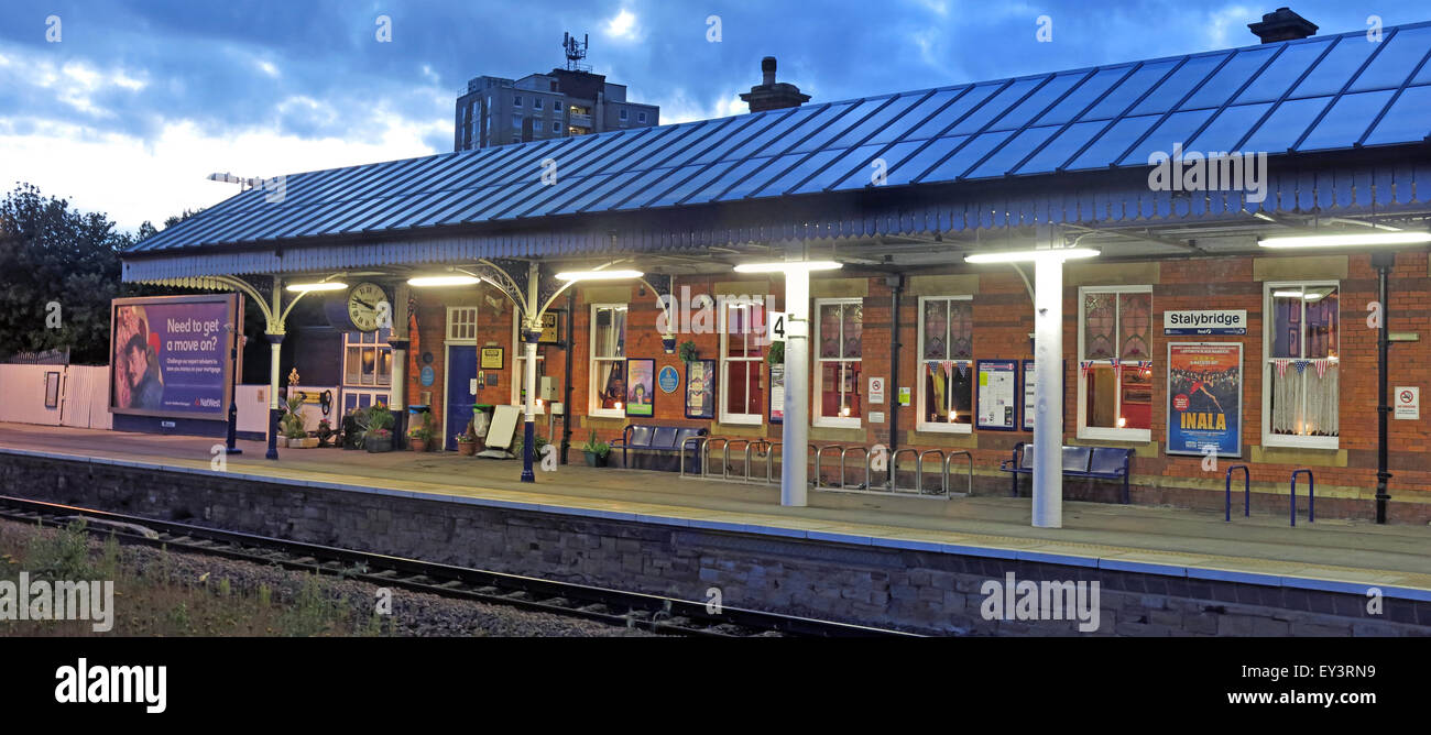 Stalybridge Railway station at dusk, Tameside,Manchester,England,UK showing platform - Stock Image