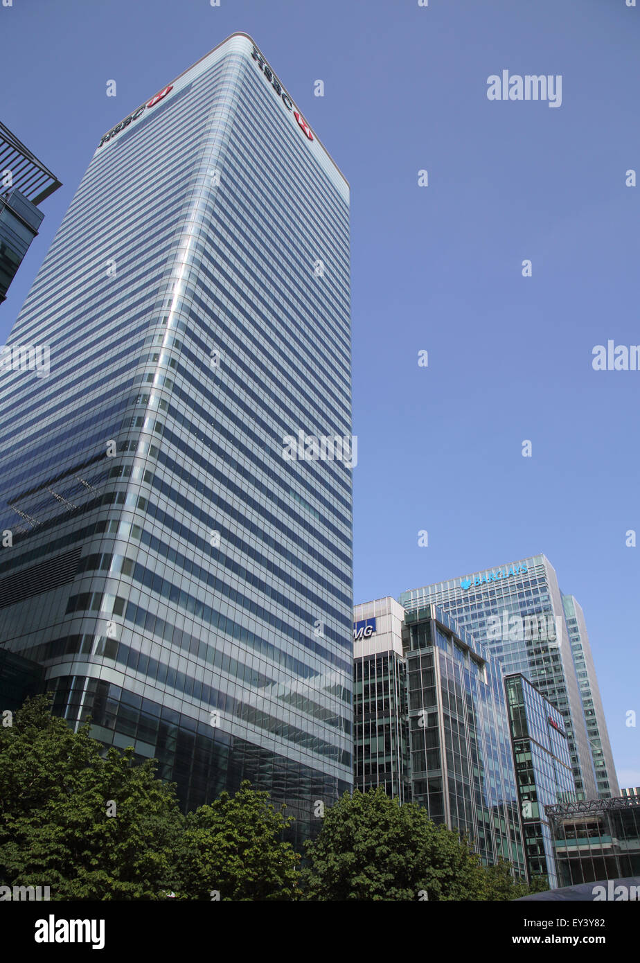 hsbc bank in the london docklands - Stock Image