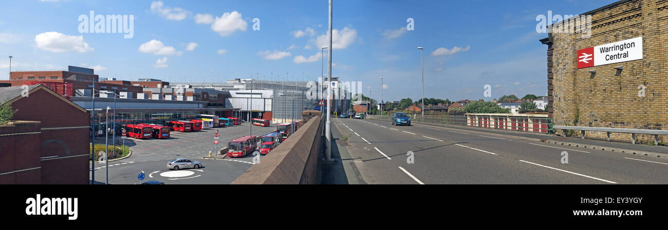Transport panorama of Warrington,Central station and bus interchange,main road,Cheshire,England,UK - Stock Image