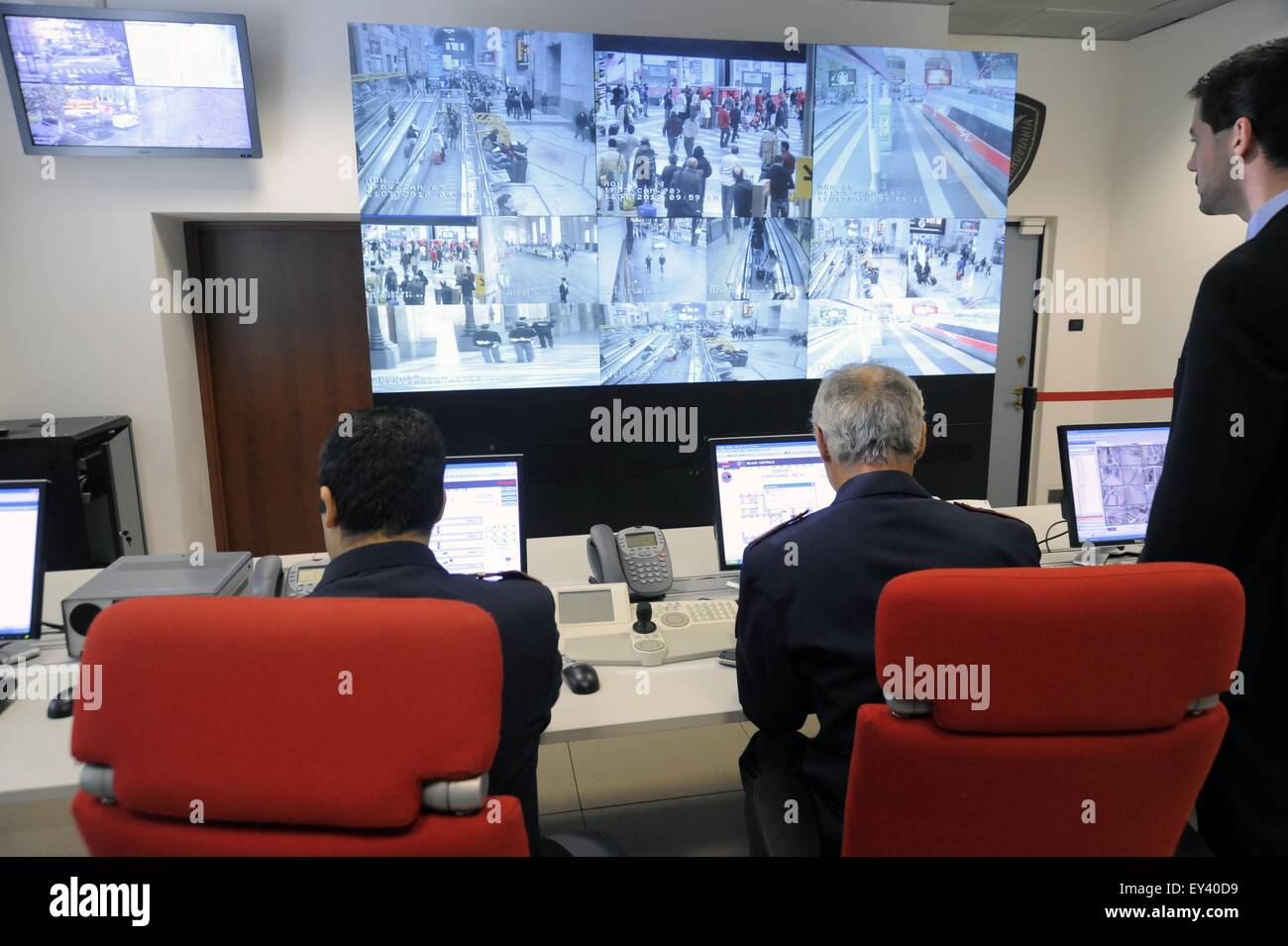 Milan, Italy, police control room for video surveillance system at railway Central Station - Stock Image