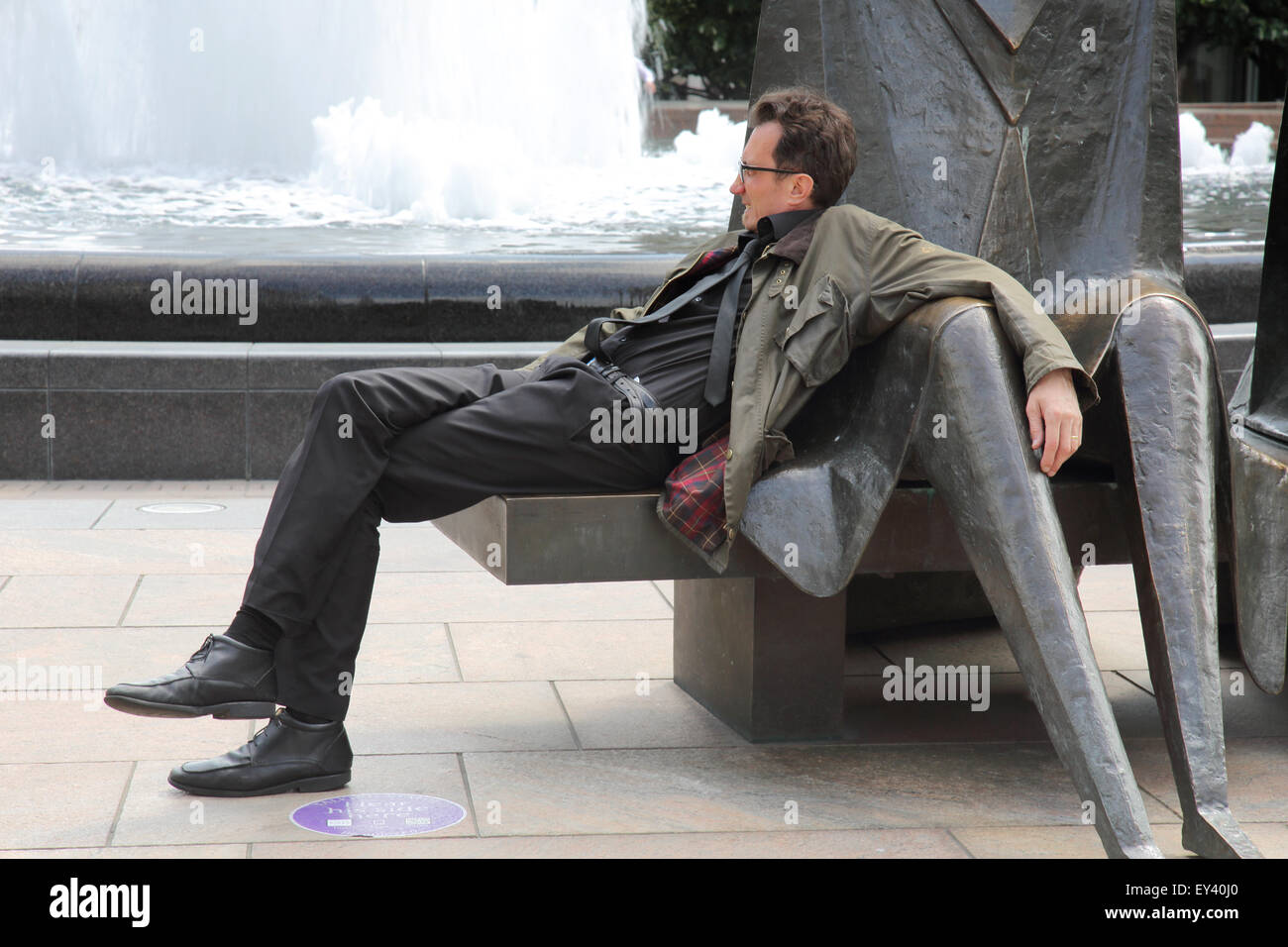 laid back in london docklands - Stock Image