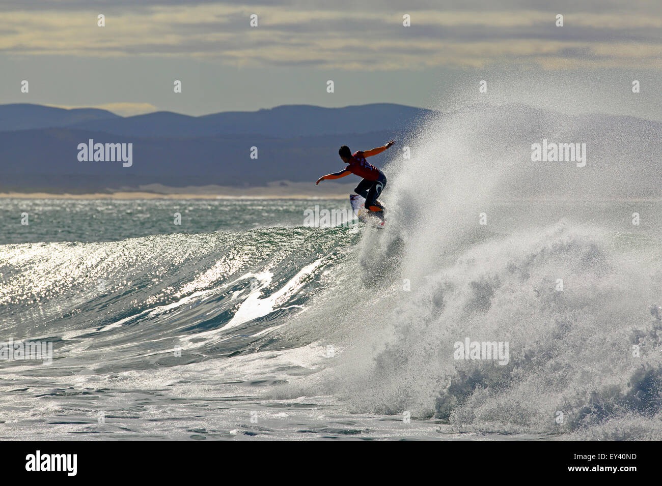 Brazilian surfer and former world champion, Gabriel Medina surfing a heat during the 2015 Jeffreys Bay Open, South - Stock Image
