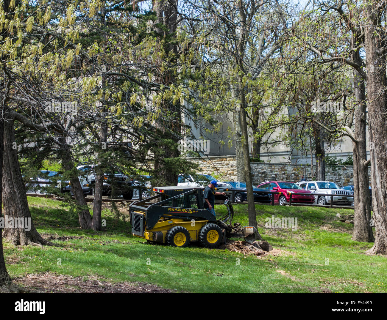 New Holland skid steer with log cutting attachment, Lawrence campus, Kansas University, Kansas, USA - Stock Image