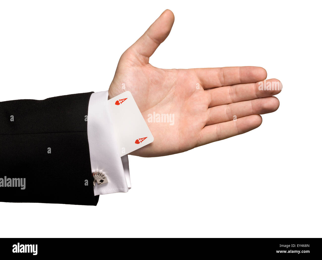 A magician with an ace up his sleeve - Stock Image