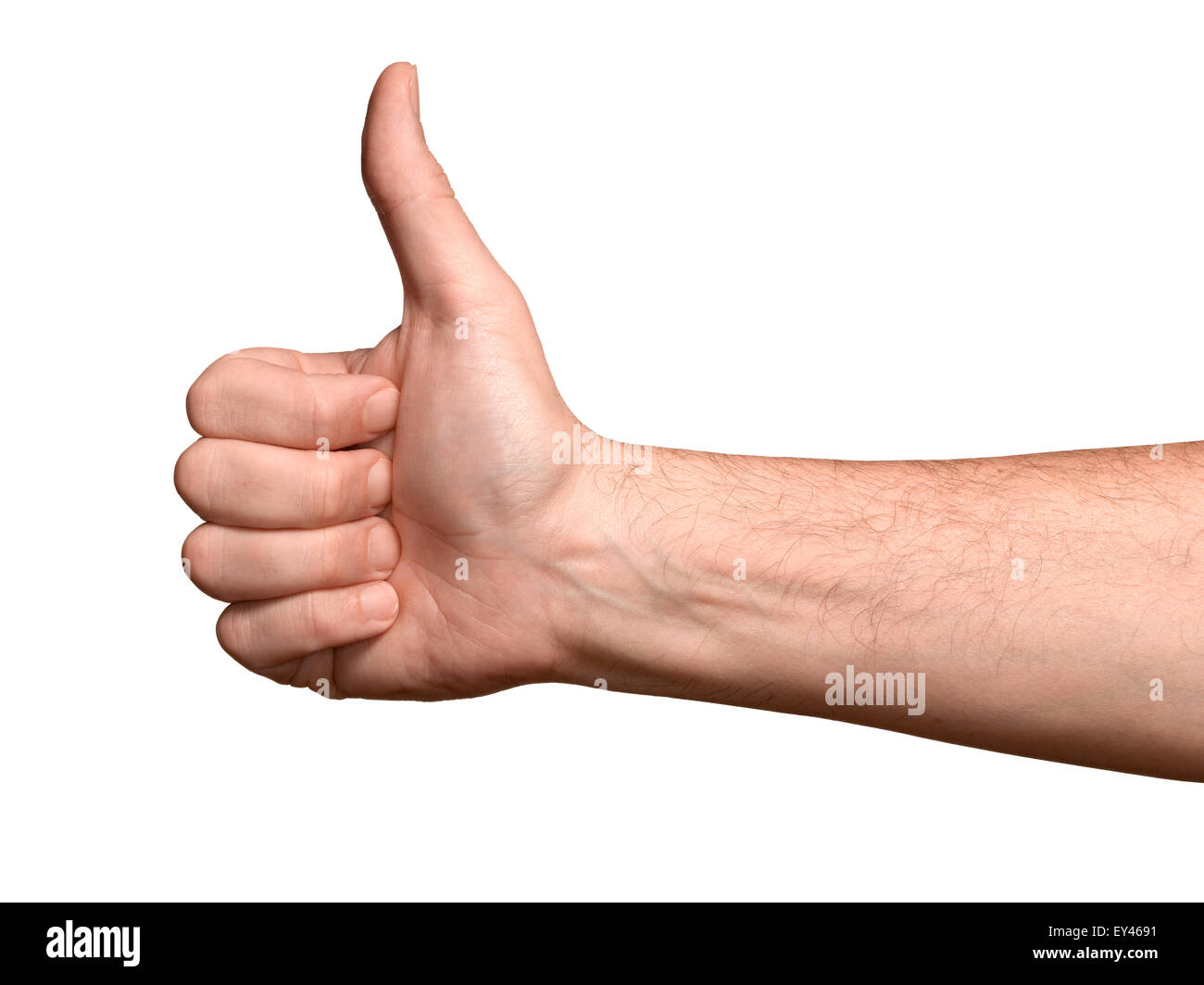 A male hand in a thumbs up position - Stock Image