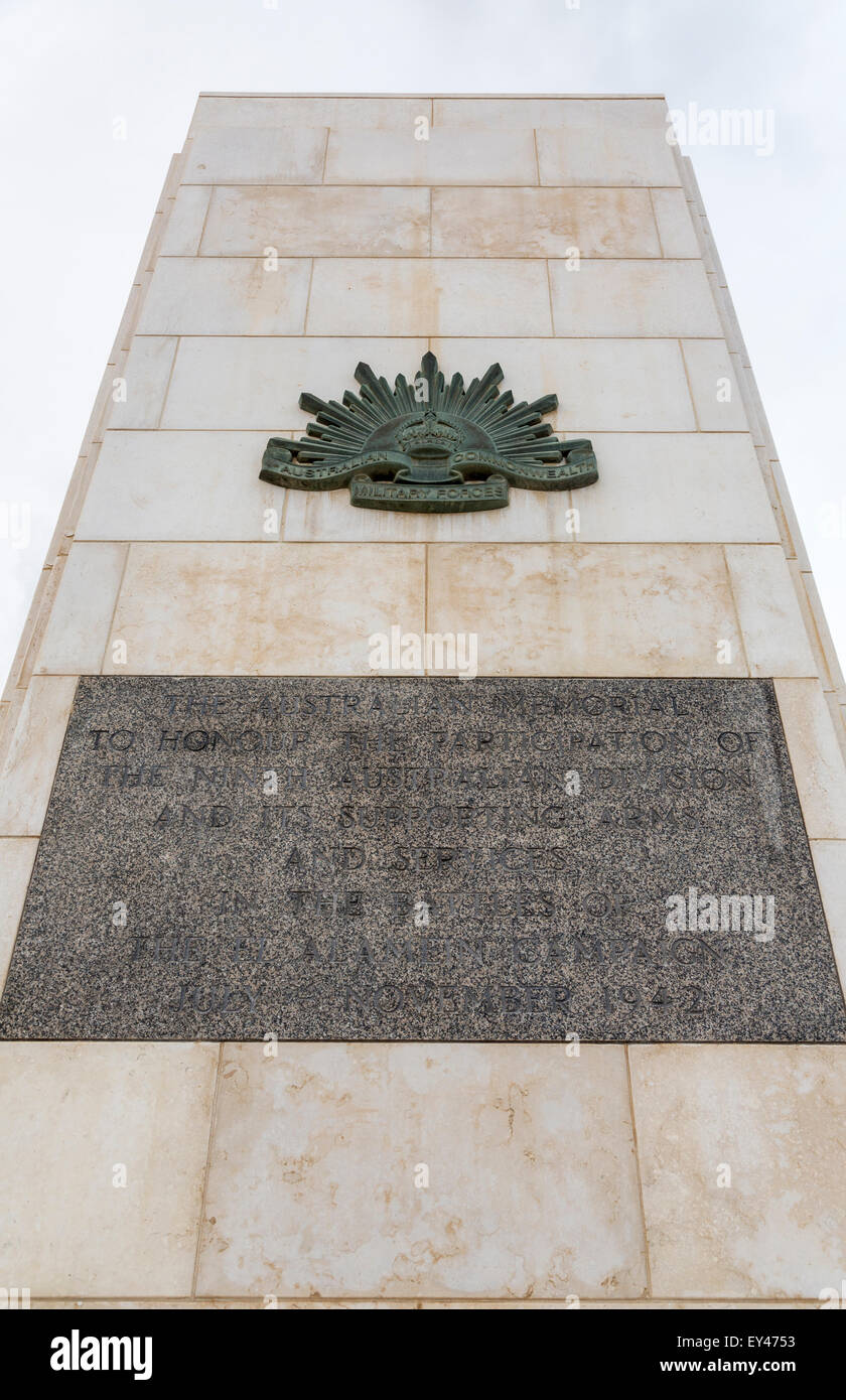 Australian Allies second world war memorial, EL Alamein, Egypt - Stock Image