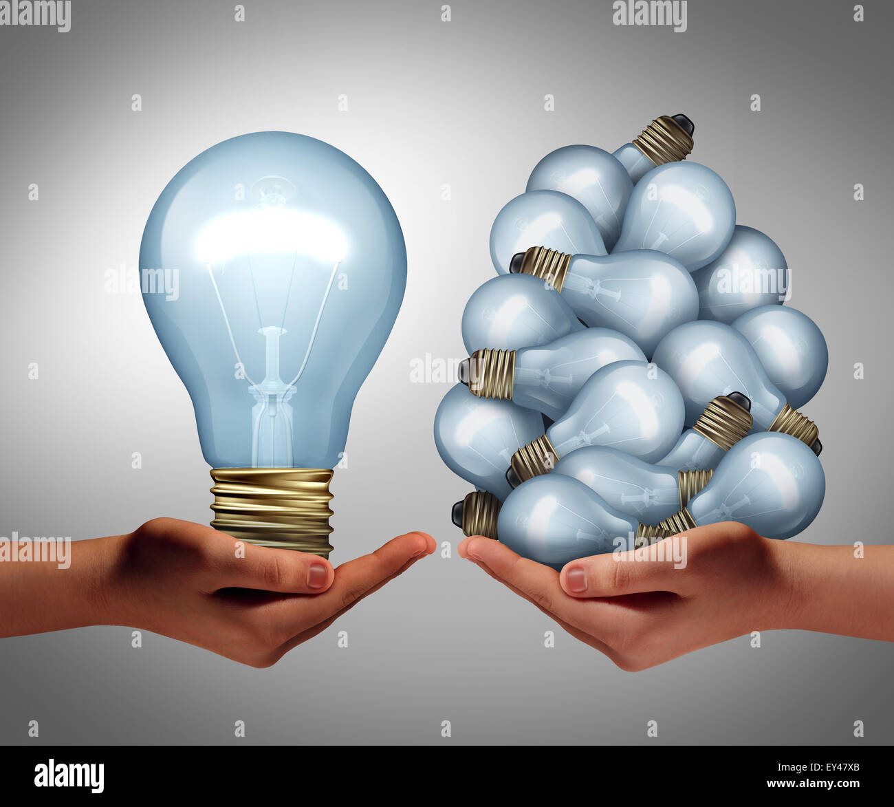 Big idea concept as a hand holding a large lightbulb and another holding a group of small bulbs as a symbol for - Stock Image