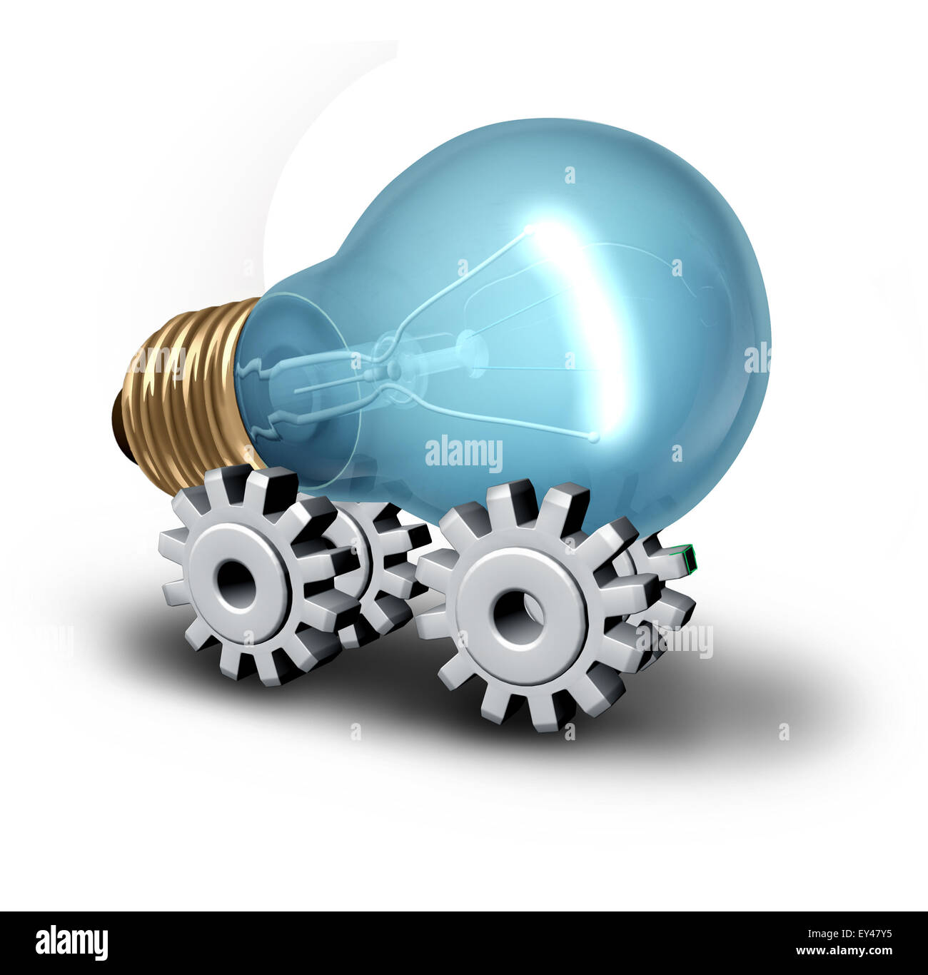 Electricicity industry concept and electric vehicle idea as a lightbulb on gear or cogwheels as a symbol for innovative - Stock Image