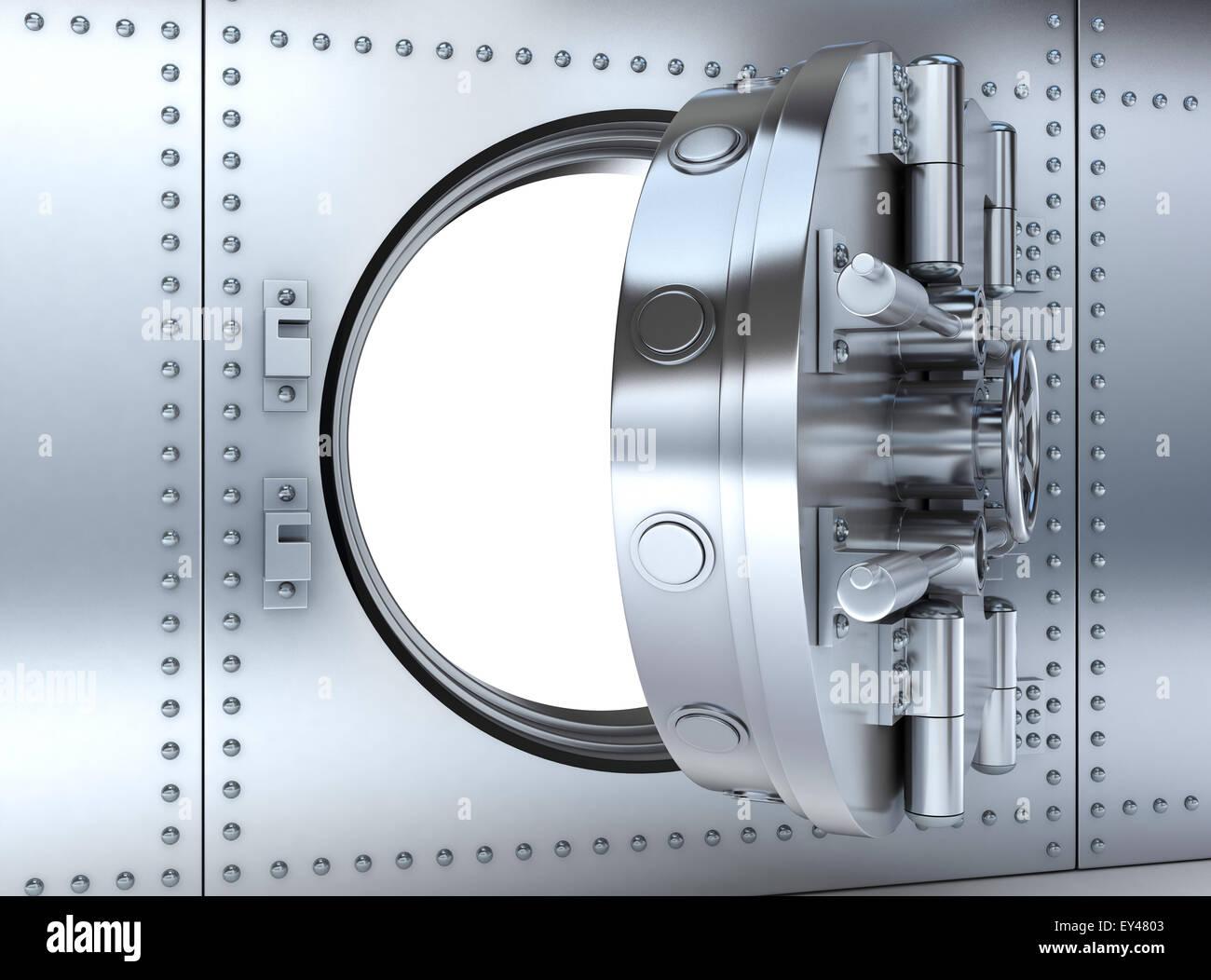 Banking metallic door, vault (done 3d) - Stock Image