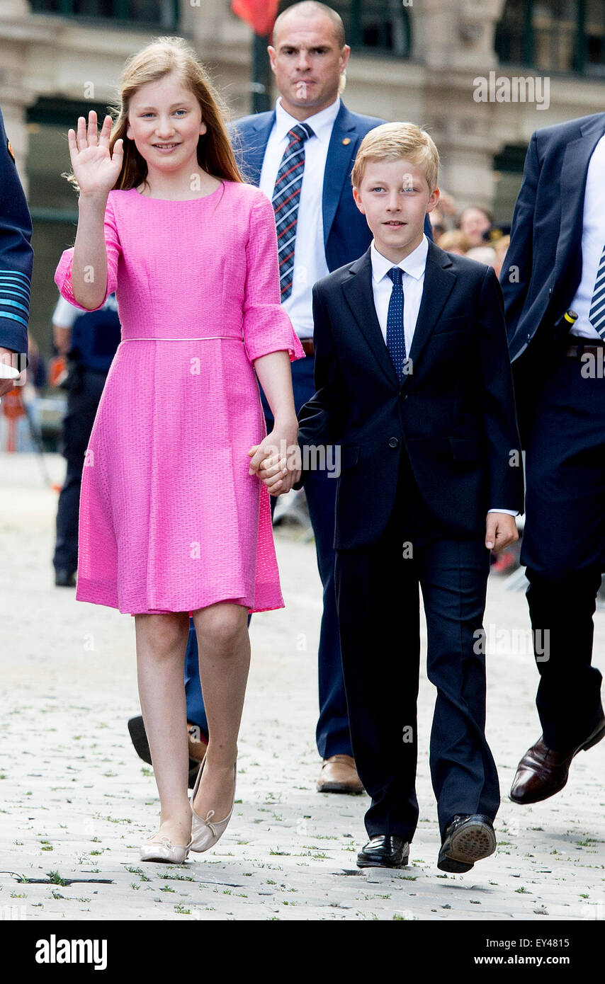 Brussels, Belgium. 21st July, 2015. Crown Princess Elisabeth and Prince Emmanuel after the Te Deum mass at the Cathedral of St. Michael and St. Gudula in Brussels, Belgium, 21 July 2015. The mass was held to commemorate the deceased members of the royal family. Credit:  dpa picture alliance/Alamy Live News