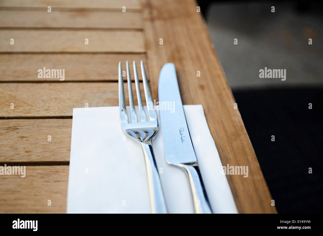Cutlery on the wooden table - Stock Image