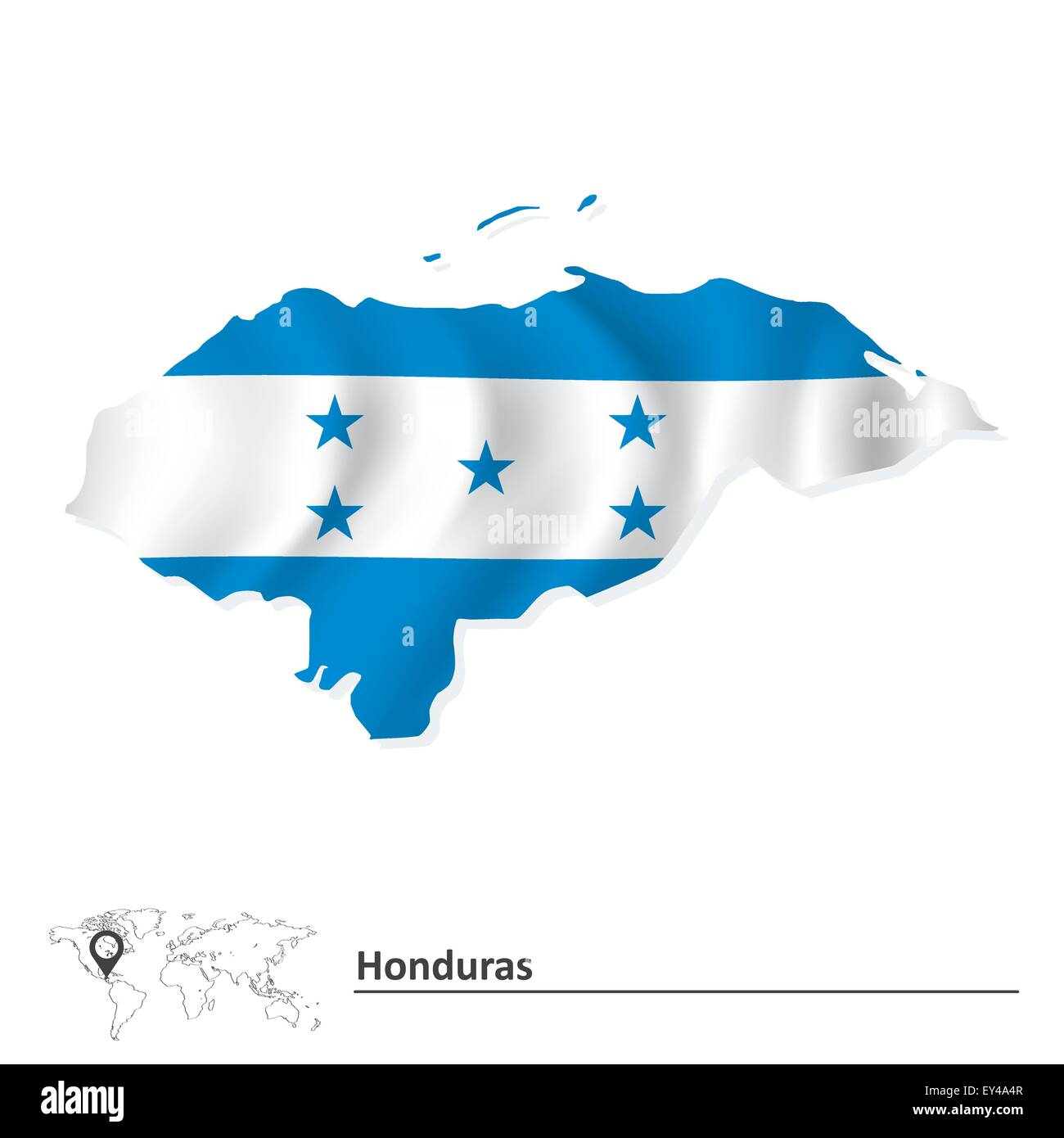 Map of Honduras with flag - vector illustration Stock Vector