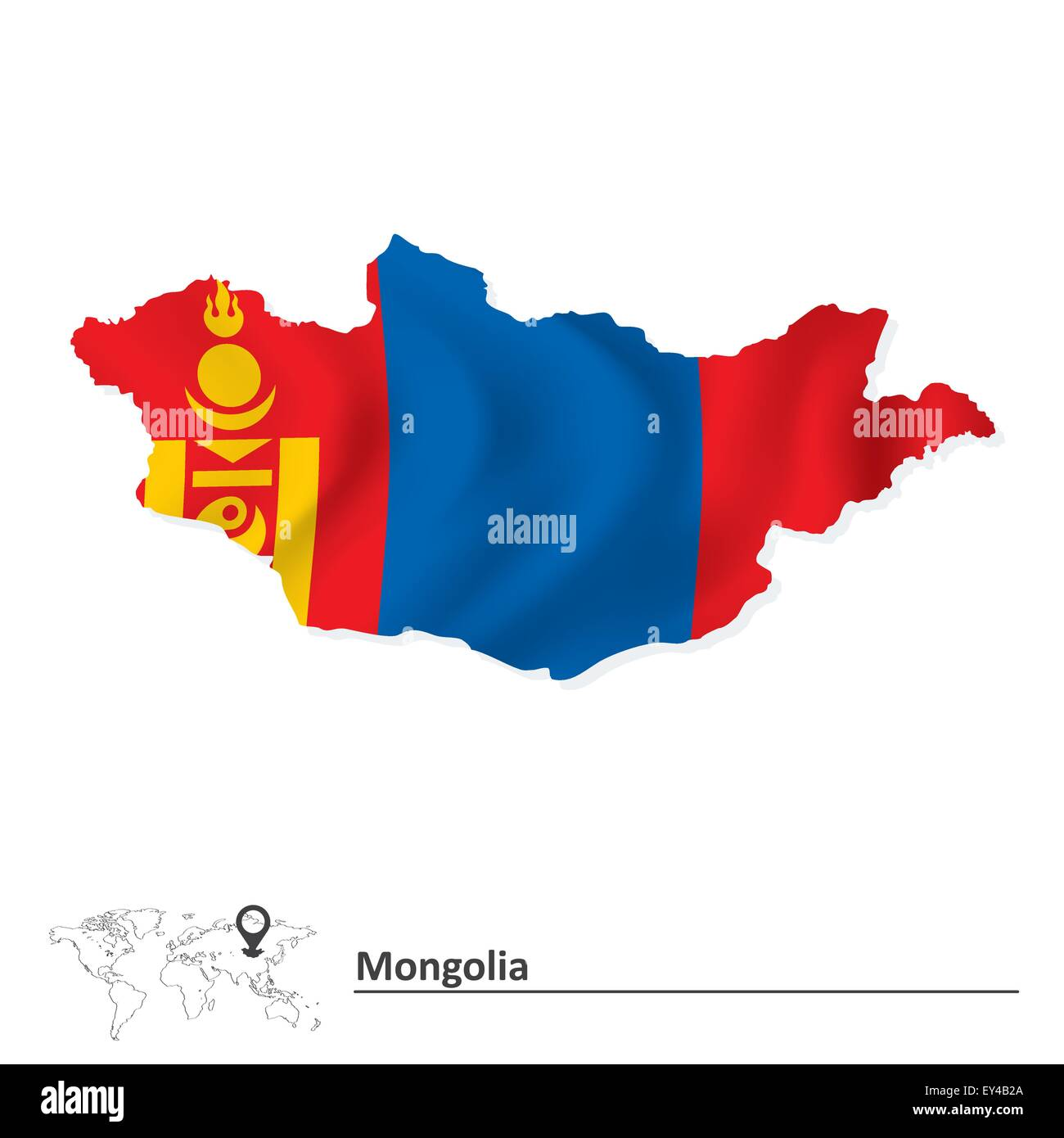 Map of Mongolia with flag - vector illustration - Stock Vector