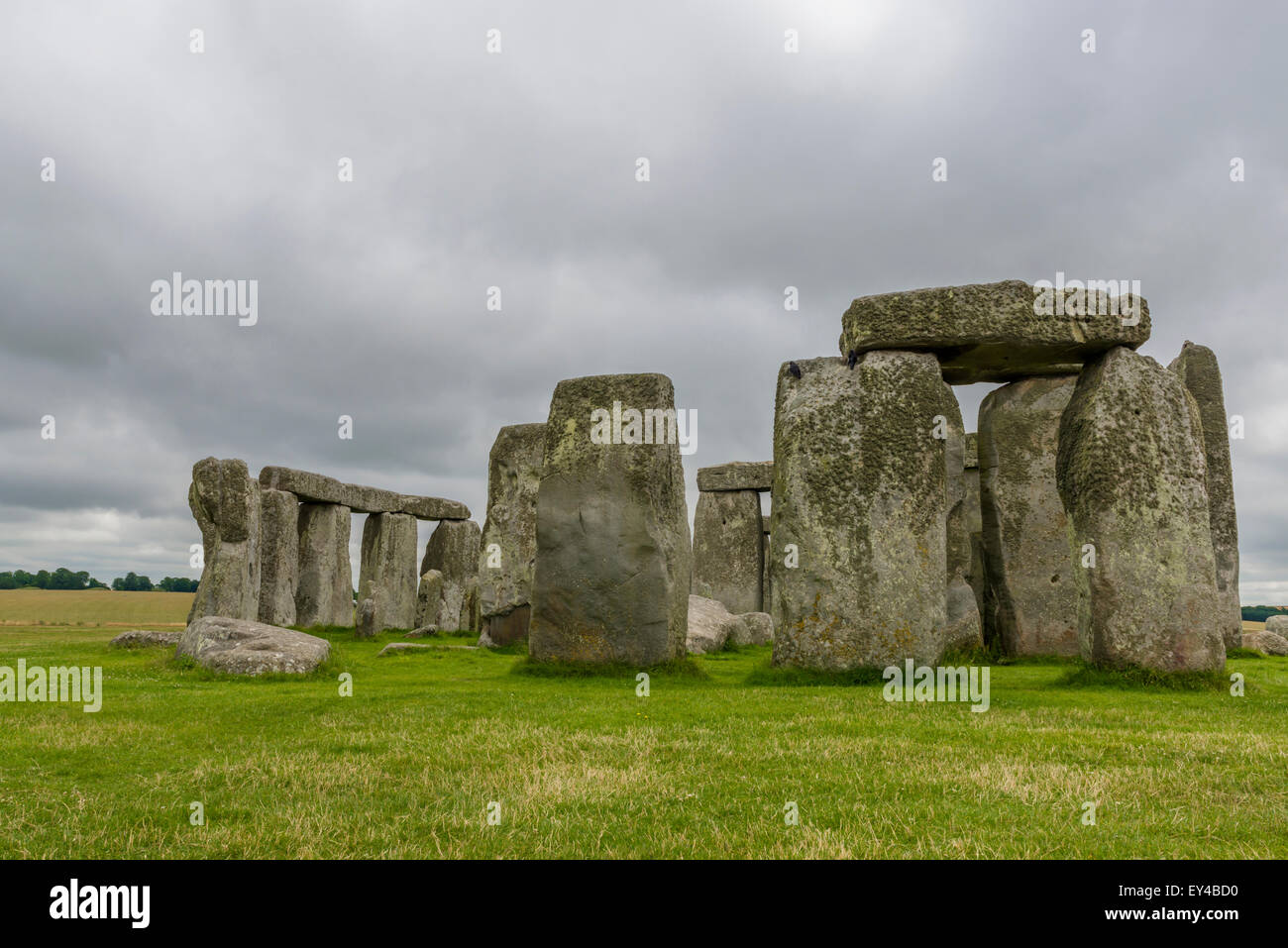 Stonehenge, England. UK - , one of the wonders of the world and the best-known prehistoric monument in Europe - Stock Image
