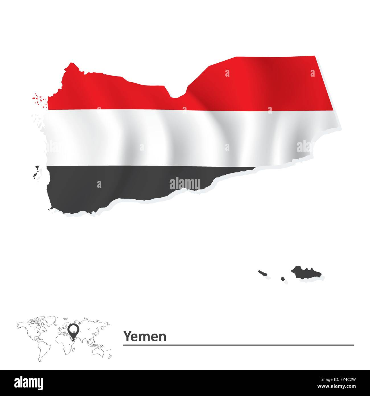 Map of Yemen with flag - vector illustration - Stock Vector
