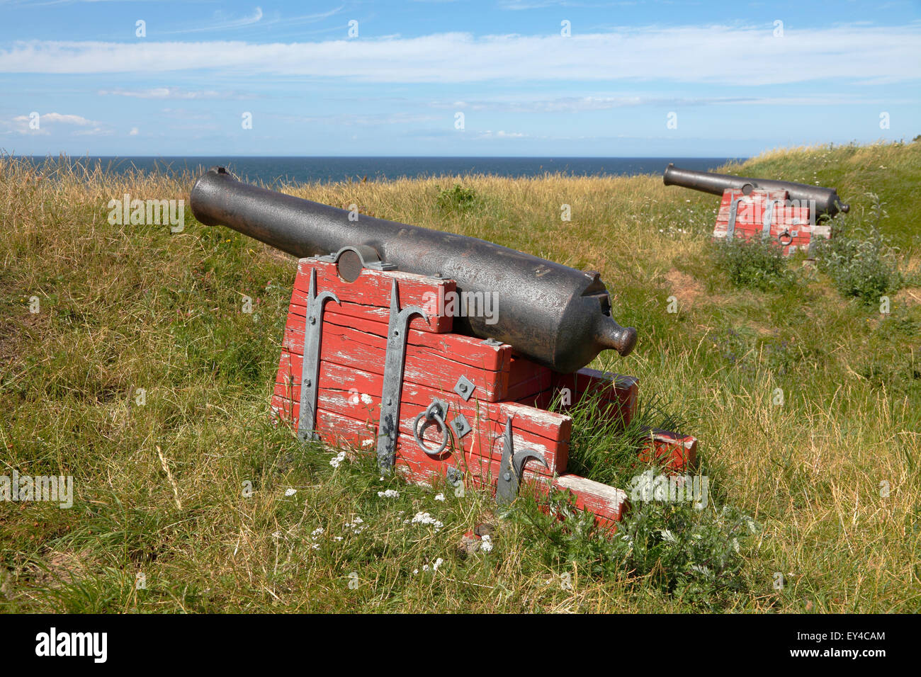 Remains of the Hundested battery 'Skansen' built 1808 to protect the entrance to the fiord during the wars - Stock Image