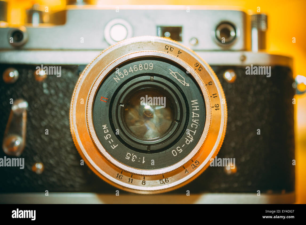 Russian Soviet Vintage Camera - Zorkiy 2-S. Zorki 2-S is small-format rangefinder camera introduced in 1956 by KMZ - Stock Image
