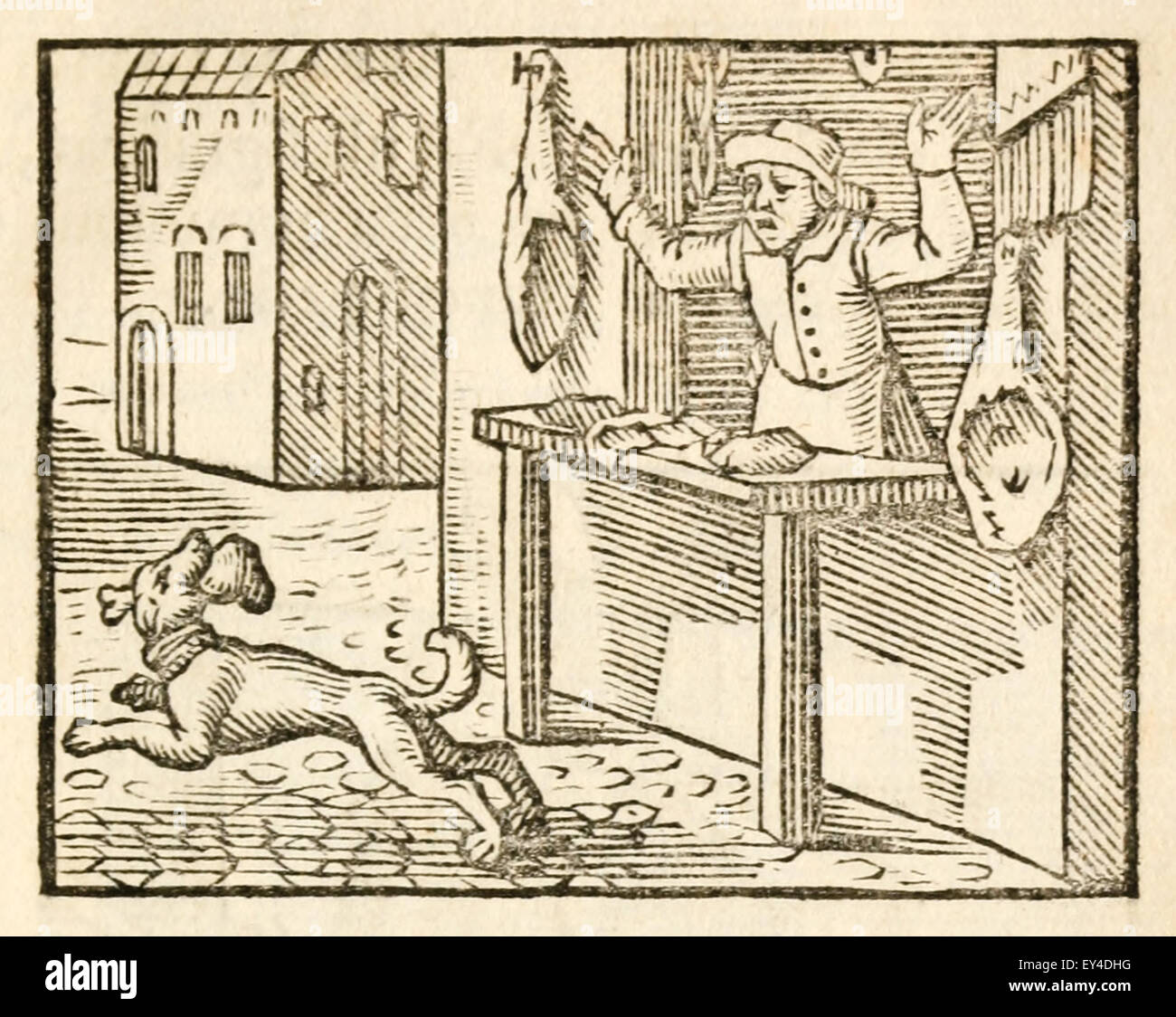 'The Dog and the Butcher' fable by Aesop (circa 600BC). A dog steals a heart from a butcher who shouts'Hey, - Stock Image