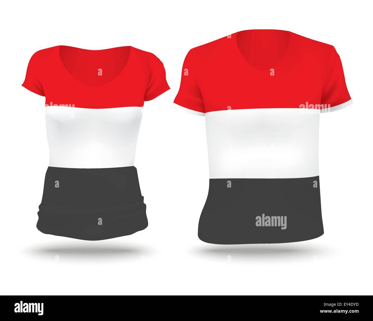 Flag shirt design of Yemen - vector illustration - Stock Vector