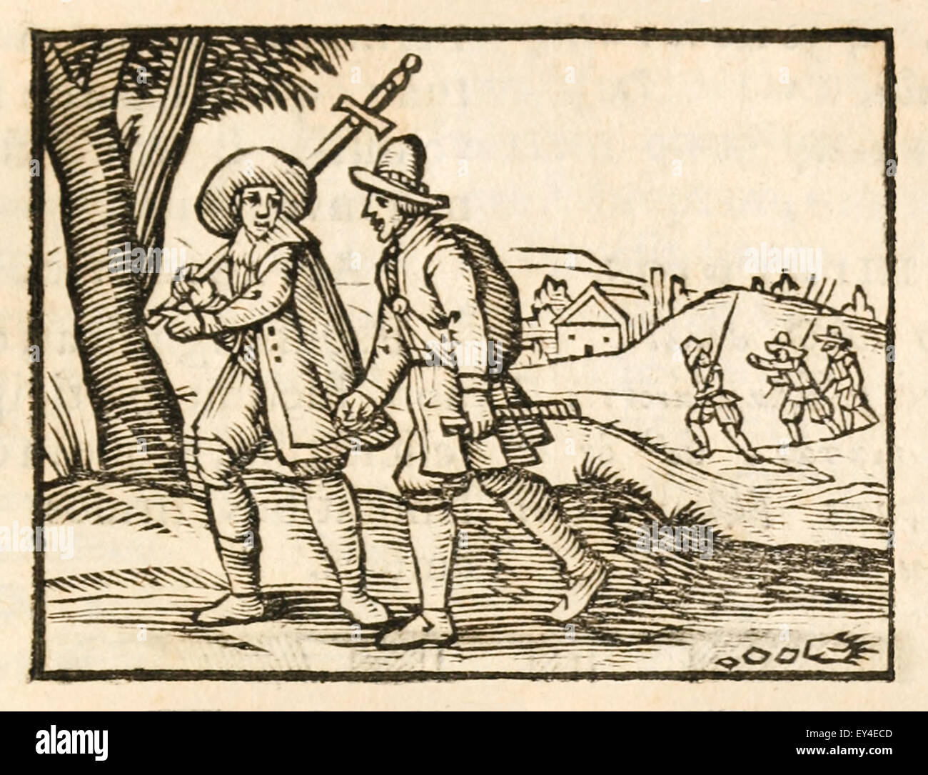'The Travellers' fable by Aesop (circa 600BC). 17th century woodcut print illustrating Aesop's Fables. - Stock Image