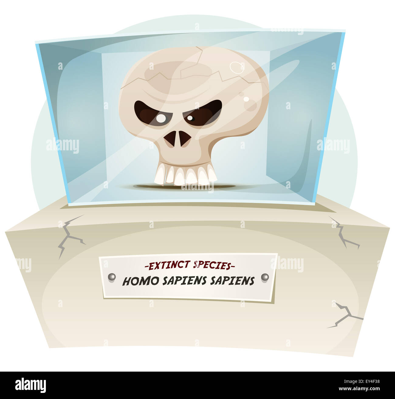 Illustration of a cartoon human skull inside museum exhibition, symbolizing extinction of human species - Stock Image