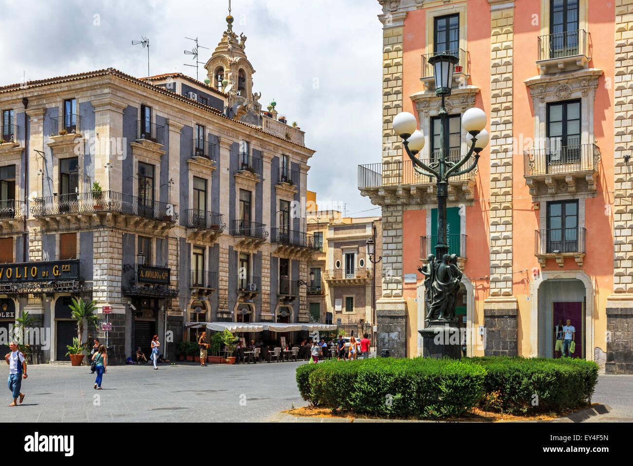 Palazzo la Piana, Via Etnea, pedestrian precinct, Catania, Sicily, Italy - Stock Image