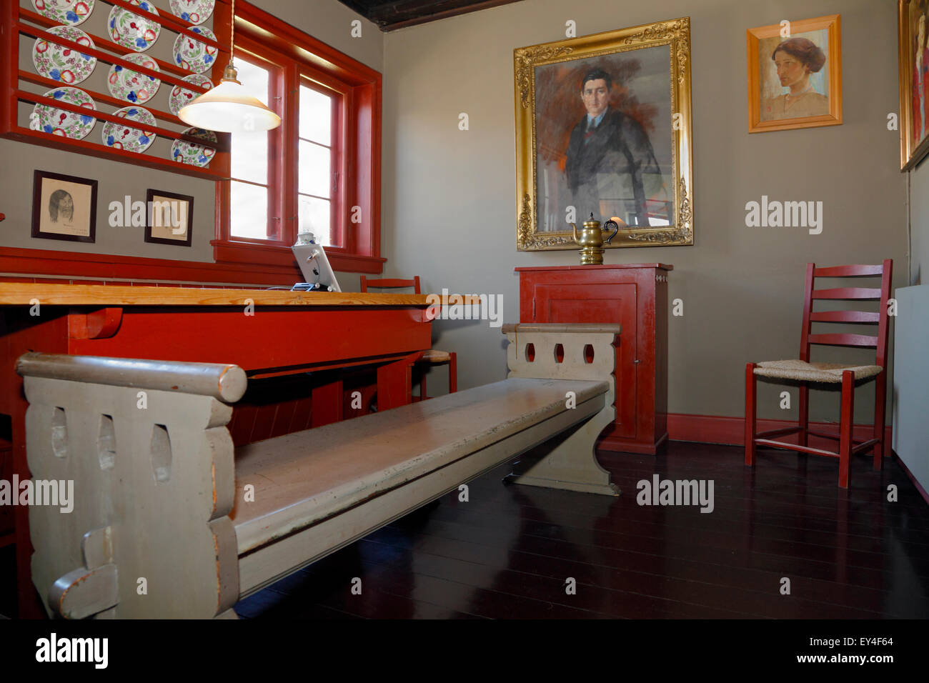 Kitchen-dining room in Knud Rasmussen's house in Hundested, North Sealand, Denmark - Stock Image