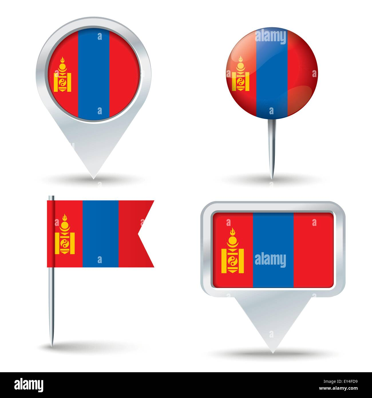 Map pins with flag of Mongolia - vector illustration - Stock Vector