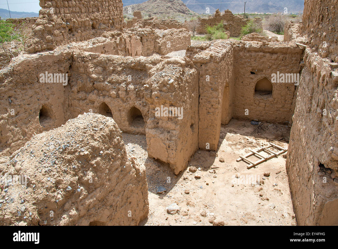Image of historic ruins in the town Tanuf in Sultanate Oman, middle east - Stock Image