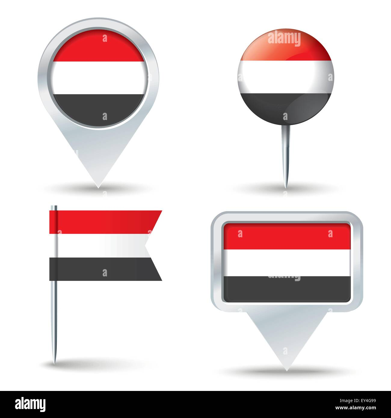 Map pins with flag of Yemen - vector illustration - Stock Image