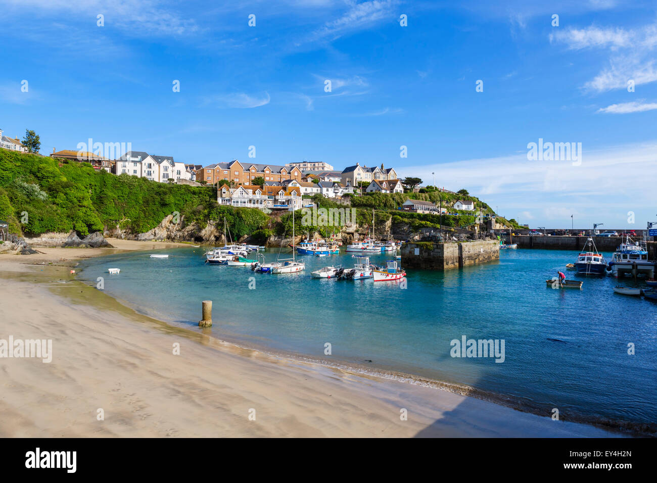 The harbour in Newquay, Cornwall, England, UK - Stock Image