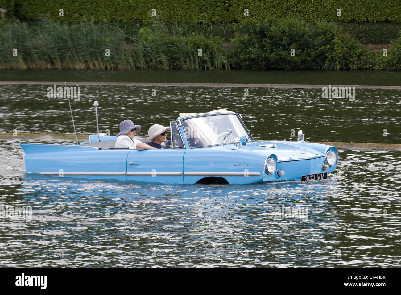 Amphibious automobiles traveling down the Thames - Stock Image