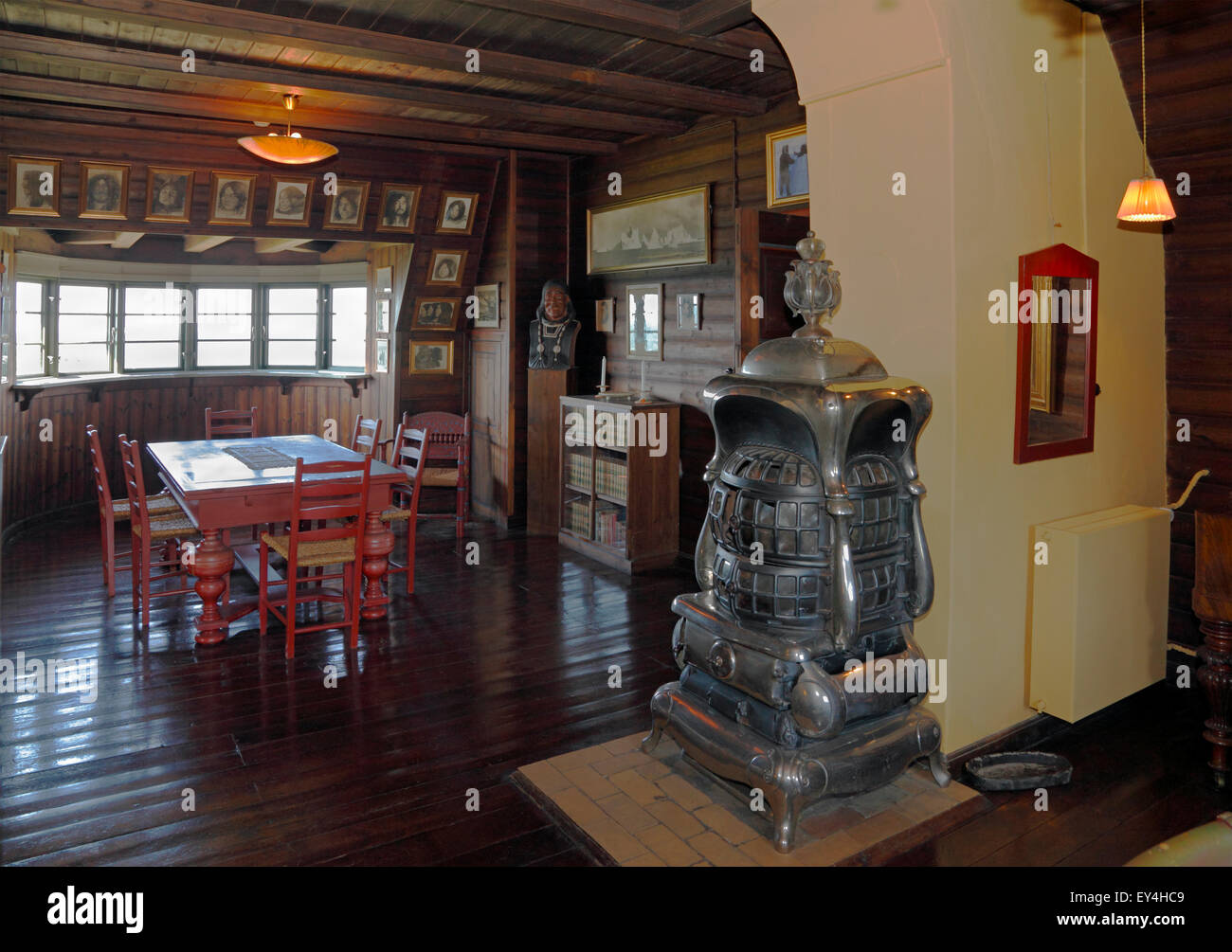 House of polar explorer Knud Rasmussen in Hundested. The big study or workroom on first floor. The largest room, - Stock Image