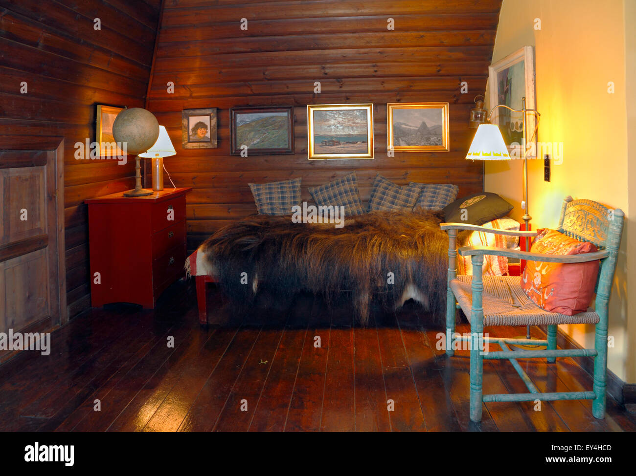 Knud Rasmussen's house in Hundested. Corner of the big study or workroom on the first floor. - Stock Image