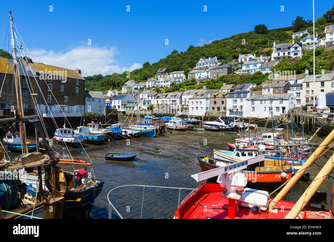 The harbour at low tide in the fishing village of Polperro, Cornwall, England, UK - Stock Image