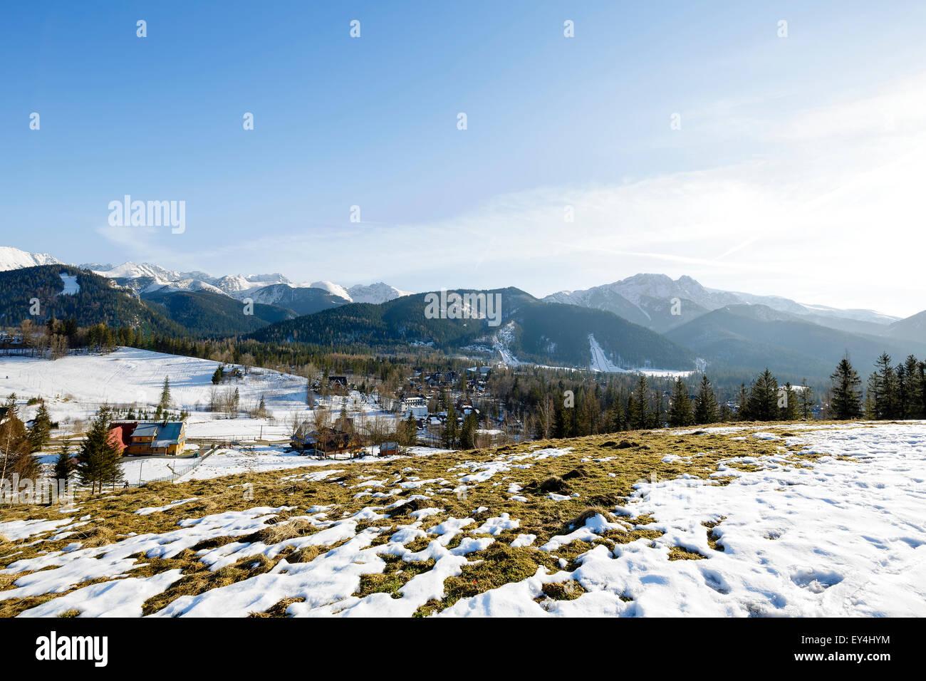 Tatra mountains seen far from city of Zakopane - Stock Image