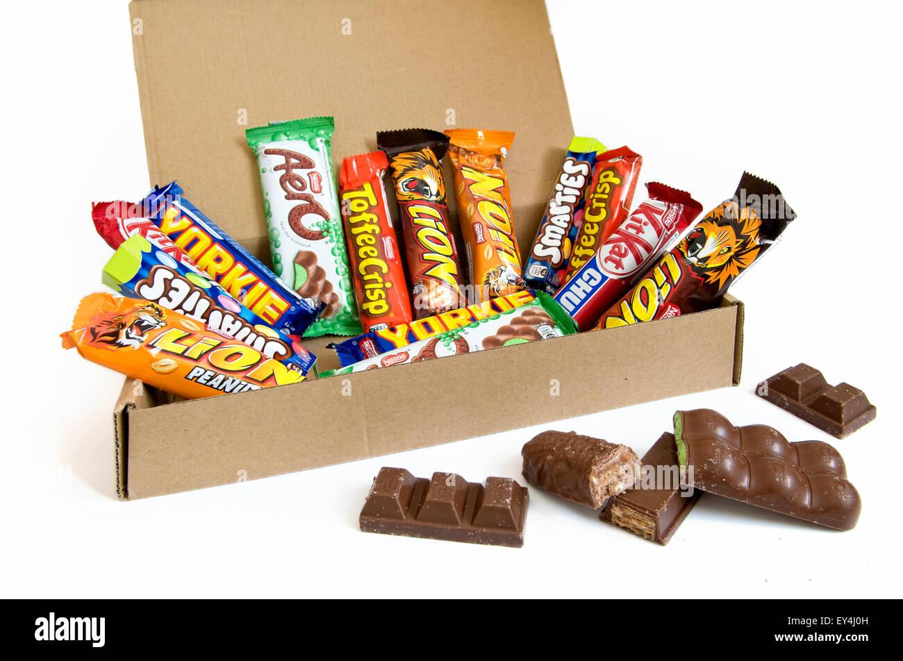 A box of Nestle chocolate bar selection - Stock Image