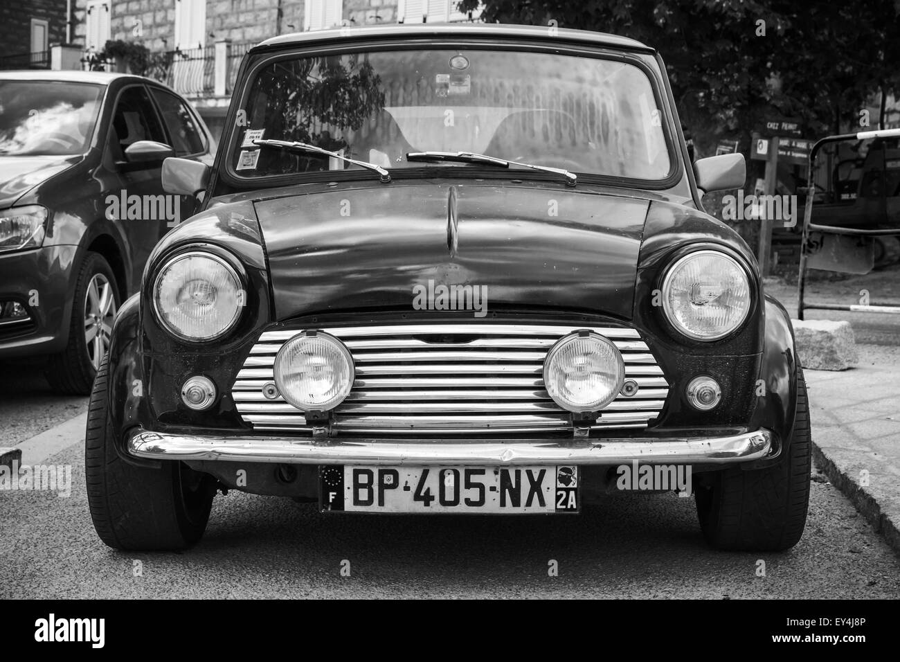 Mini Motor Car Black And White Stock Photos Images Alamy