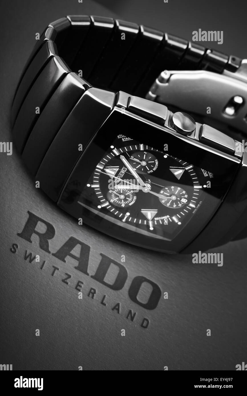 Saint-Petersburg, Russia - June 18, 2015: Rado Sintra Chrono, Mens chronograph watch made of high-tech ceramics - Stock Image