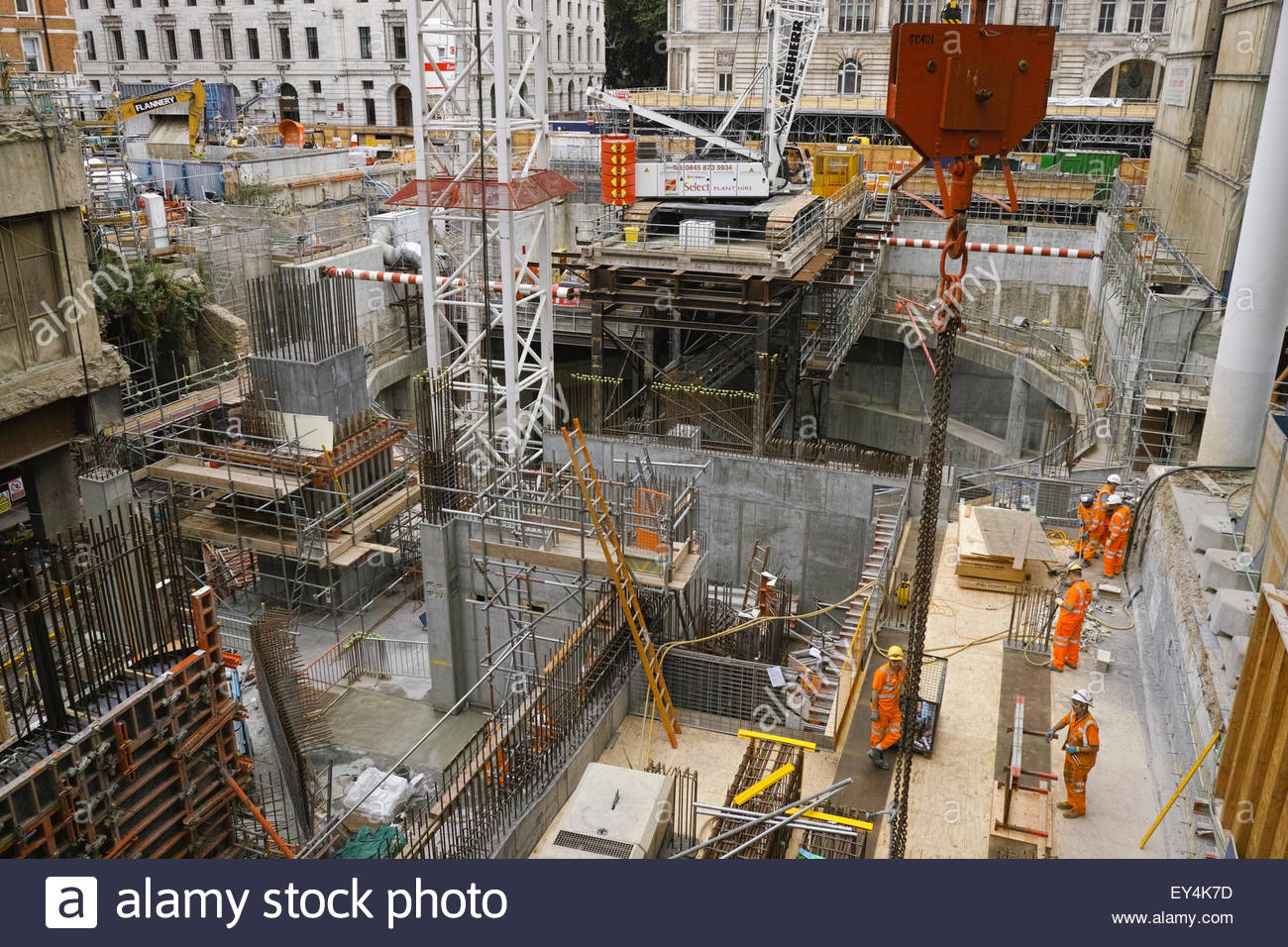 Crossrail construction work at Moorgate: City of London. - Stock Image